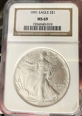 1991 American Silver Eagle NGC Certified MS 69