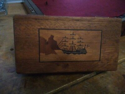 Oak box with picture of sail boat on about early 1900s collectable trien woodwor