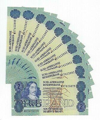 South Africa Replacement 2 Rand WX 1989 AUnc-Unc 10 consecutive notes. JO-6878