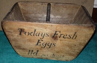 Vintage Wooden Egg Box - for collecting eggs
