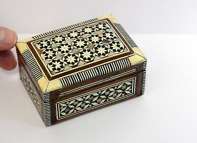 Charming Small Inlaid Vintage Eastern Wooden Box. Hinged Lid & Lined Interior
