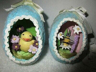 2 Vintage Papier Mache Decorated Diorama Easter Eggs Holiday Decorations