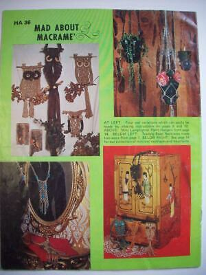 Mad about Macrame patterns Owls plant holders hangers hanging table jewelry