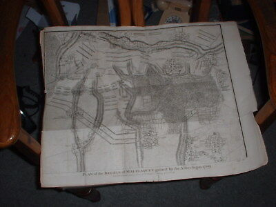 Antique 1732 Map/Plan Battle of Malplaquet from Tindal's History of England