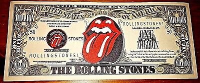 Rolling Stones Bank Note Bill Pop Music 60s Retro London Band Lips Tongue Logo