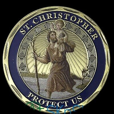 ST CHRISTOPHER Coin Cross Crucifix Religion Jesus Christ God Prayer Amen Travel