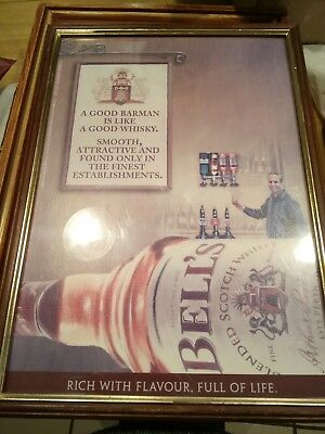 Bells whisky advertisement poster in frame