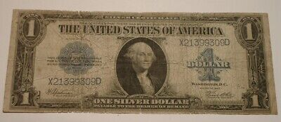 1923 $1 One Dollar LARGE Size SILVER CERTIFICATE Bank Note Blue Seal
