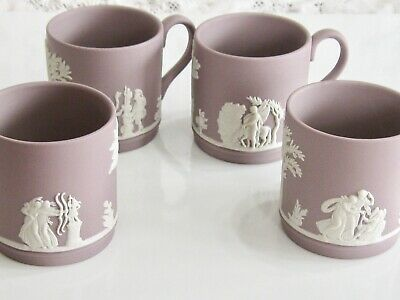 Antique / Vintage Lilac Wedgwood Jasperware Cupid Mythology Demitasse Cup Set 4