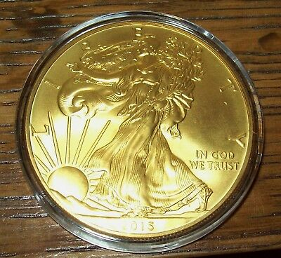 2015 24K Gold Gilded American Silver Eagle 1 Troy Oz. .999 Fine One Dollar Coin