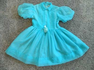 Vtg 50's girls sheer pintuck turquoise dress 6-7