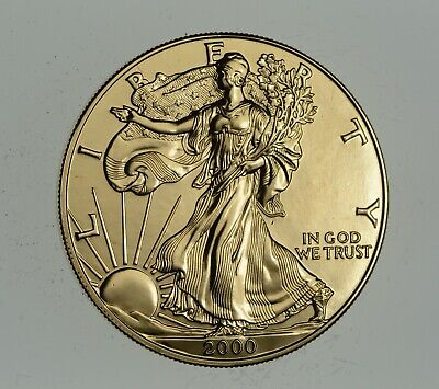 2000 24 Kt Gold Plated American Silver Eagle - Beautiful Coin! 1 Oz .999 *902
