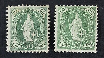 CKStamps: Switzerland Stamps Collection Scott#109 109a Mint H OG, #109a Thin
