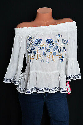 eb31d1d5580 Xhilaration Target Womens Boho Flutter Bell Slv Smocked Embroidery Top Sz M  NEW
