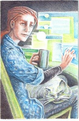 """beautiful art hand painted oil paintings for sale""""a woman and a cat""""@N2617"""