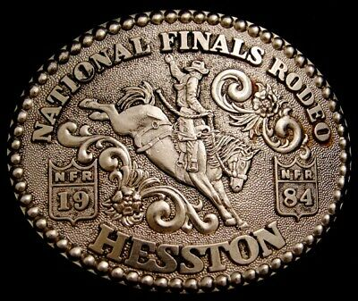 Mg30151 Used Nfr ***1984 National Finals Rodeo*** Hesston Collector Buckle