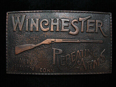 PD25129 VINTAGE 1970s **WINCHESTER REPEATING ARMS** GUN FIREARM BELT BUCKLE