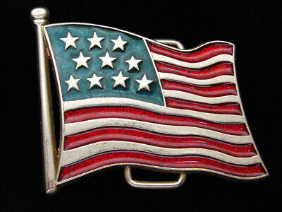 PH15140 VINTAGE 1970s **FLAG OF THE UNITED STATES** PATRIOTIC BELT BUCKLE