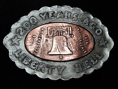 Pg05137 Vintage 1976 **200 Years Ago Liberty Bell** Commemorative Pewter Buckle