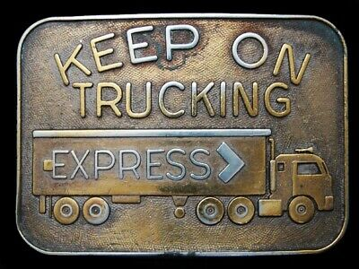 MH03109 VINTAGE 1970s ***KEEP ON TRUCKING (EXPRESS)*** TRUCK DRIVER BELT BUCKLE
