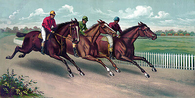 """perfact 48x24 oil painting handpainted on canvas """"Horses Racing """" NO3334"""