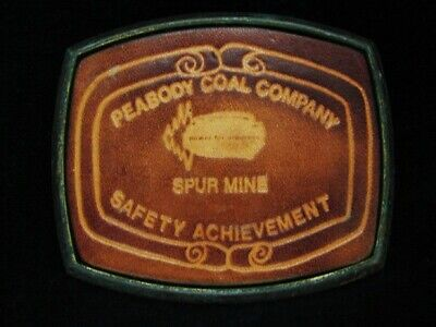 NG19136 VINTAGE 1970s **PEABODY COAL COMPANY SAFETY** COAL MINING BELT BUCKLE