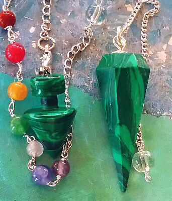 2 Solid Malachite Dowsing Pendulums With Chains And Storage Pouches, Divination