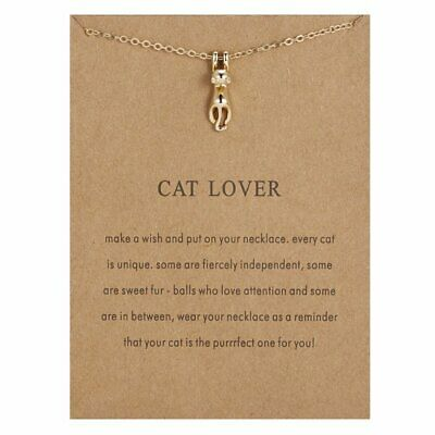 Fashion Card Cat Lover Animal Necklace Vintage Necklace Pendant Women Jewelry