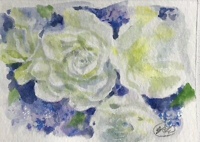 ACEO floral flower roses painting original fine art Originals listed by artist