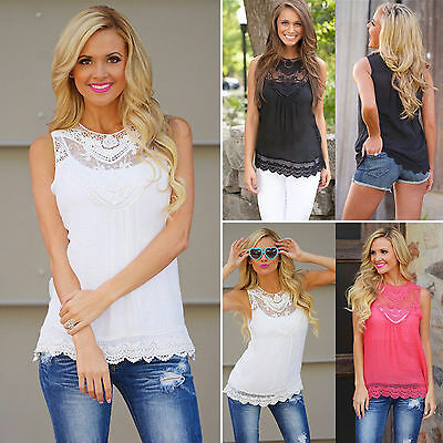 cf95846d5c Women Summer Sleeveless Baggy Chiffon Vest Casual Lace Top Blouse T-shirt  Solid