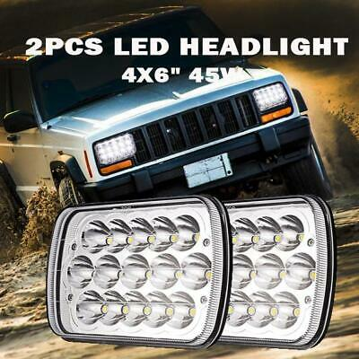"Pair Universal 4X6"" 15LED Headlight 45W HI-LO Replacement Sealed Headlamp"
