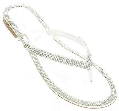 a55c23bbb TARGET-S-5-6-WHITE BRIDE-SILVER-SPARKLE-IRIDESCENT-THONG SANDALS ...