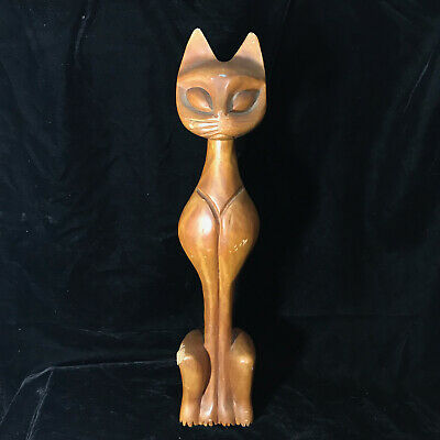 Vintage 50s Mid Century Modern Wood Tall Slim Kitty Cat Figurine Decor 20""