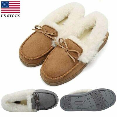 94eac522b38 WOMENS SLIPPERS LOAFERS Bow Tie Suede Shoes House Moccasins Fleece Fur  Indoor