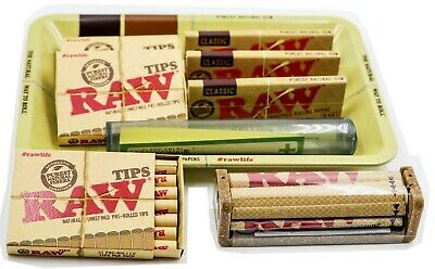 Bundle Combo 3x RAW  1 1/4 Rolling Paper & PreRolled Tips + Tray + Tube