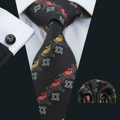 Classic Black Red Yellow Paisley Mens Tie Silk Necktie Woven Set Hi Tie SN-1690