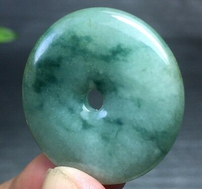 Certified Oily Green Natural A Jade Jadeite Carved Safety Circle Donut Pendant