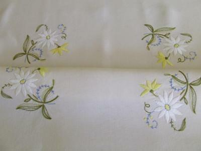 Superbly Hand Embroidered Vintage Tablecloth- Large Daisy Pattern - Unused