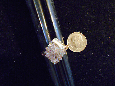 gold plated iced out cubic CZ COCKTAIL cluster fashion ring hip hop JEWELRY sz6
