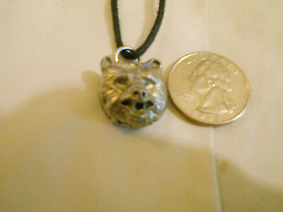 bling silver plated MYTH bear head mascot animal pendant charm necklace JEWELRY
