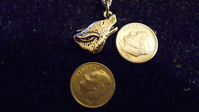 bling silver plated myth WOLF HEAD mascot animal pendant charm chain necklace ep