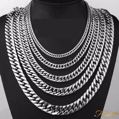 Men's Stainless Steel Silver 316L Curb Link Chain Chunky Necklace