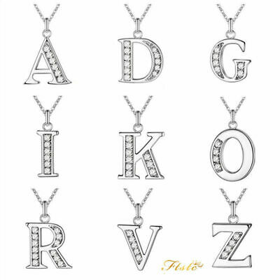 Personalised 925 Silver Initial Letter Alphabet A - Z Pendant Chain Necklace
