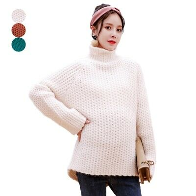 Maternity Loose Sweater Solid Color Pregnant Woman High Collar Knitting Tops