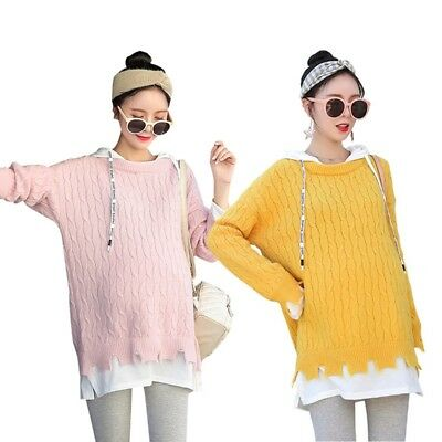 Woman Sweater Winter Warm Soft Hooded Knitted Maternity Long Hoodies Tops New