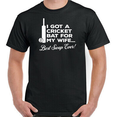 Cricket Bat For My Wife Mens Funny Cricketing T-Shirt Cricketer Ball Team Top