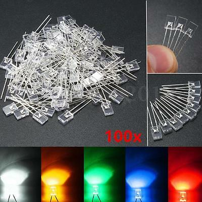 100pcs 2x5x7mm Rectangular Square LED Diodes Water Clear White/Yellow/Red/Blue