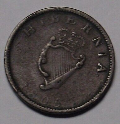 IRELAND 1805 George III halfpenny, Very Fine.