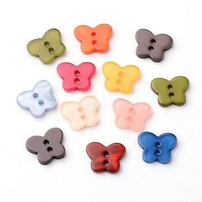 Mixed Resin Butterfly Buttons 14mm Sew On 2 Holes BULK 5 Packs x 10 Pcs Sewing