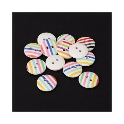 Multicolour Wood Round Buttons 15mm Sew On 2 Holes BULK 4 Packs x 10 Pcs Sewing